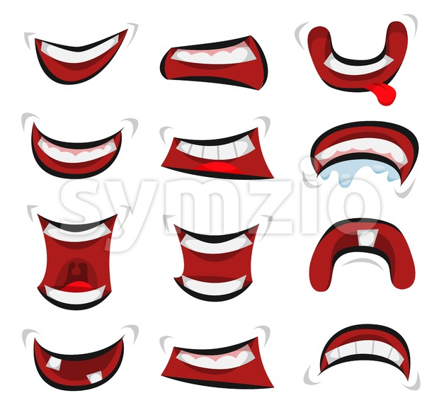 Comic Mouth Emotions Set Stock Vector