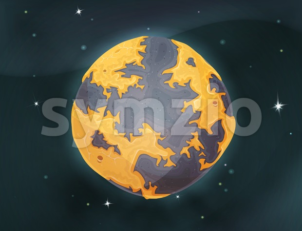 Cartoon Earth Planet On Space Background Stock Vector