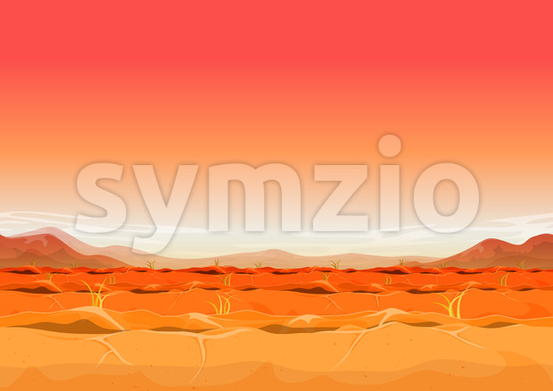 Seamless Far West Desert Landscape For Ui Game Stock Vector