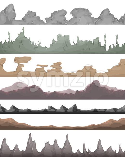Seamless Landscape Grounds For Game Ui Stock Vector