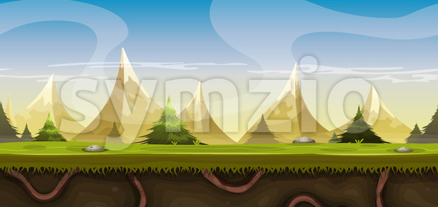 Seamless Mountains Landscape For Game Ui Stock Vector