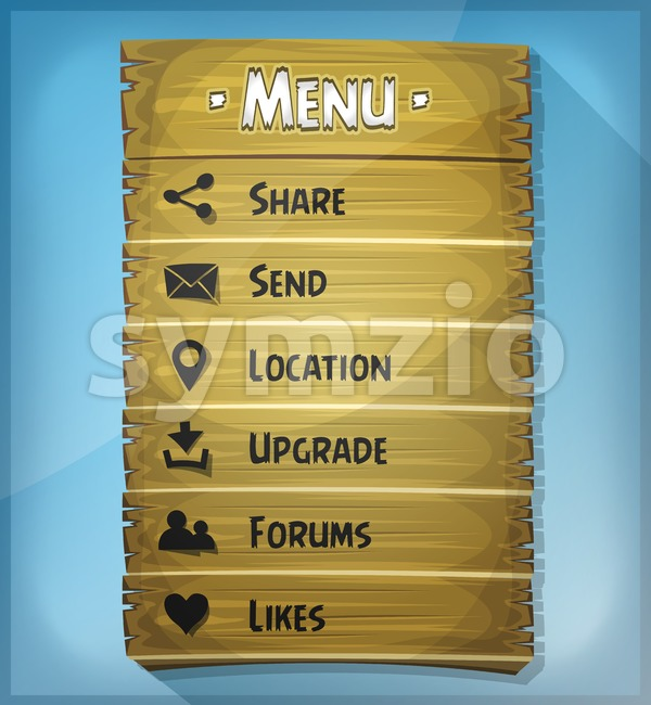Illustration of a funny design customized app or game wooden panel, with comic layout, ui elements and icons, over blue ...