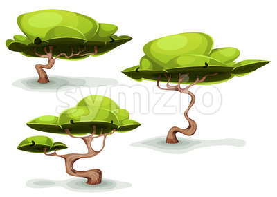 Funny Weird Trees For Fantasy Scenics Stock Vector
