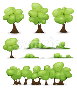 Cartoon Trees, Hedges And Bush Leaves Set Stock Photo