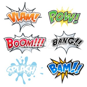 Comic Text, Bomb Explosions And Pop Art Style Stock Vector