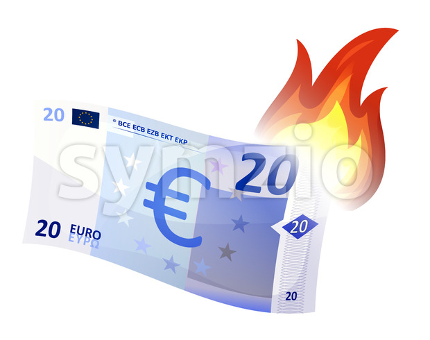 Euro Bill Burning Stock Vector