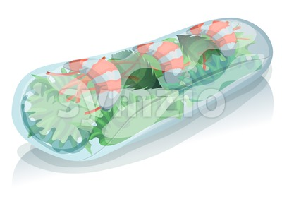 Asian Spring Roll Stock Vector