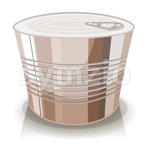 Illustration of a cartoon food tin can, with no sign