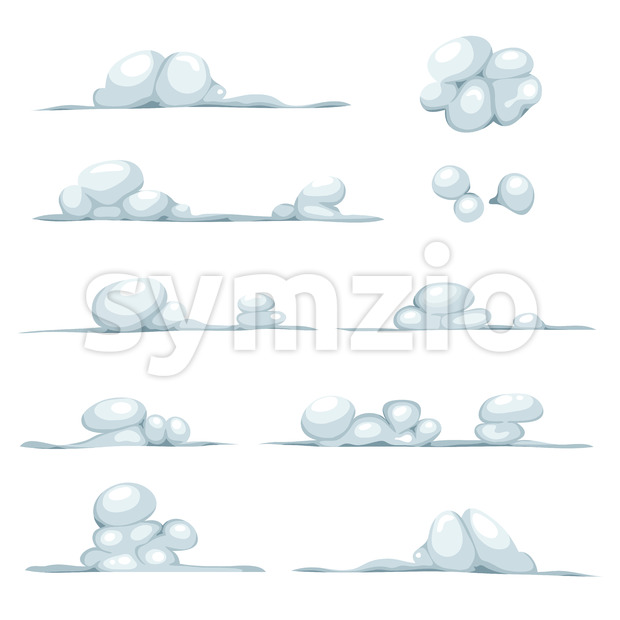 Cartoon Clouds, Smoke, Stone, Snow And Boulders Set Stock Vector