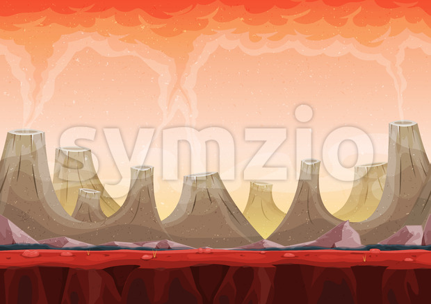 Seamless Volcano Planet Landscape For Ui Game Stock Vector