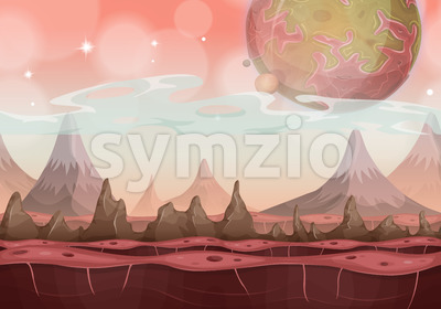 Fantasy Sci-fi Alien Landscape For Ui Game Stock Vector