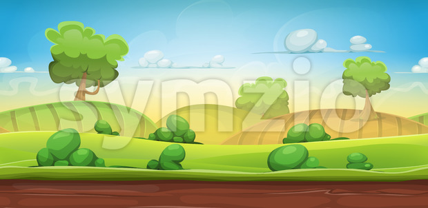 Seamless Country Landscape For Ui Game Stock Vector