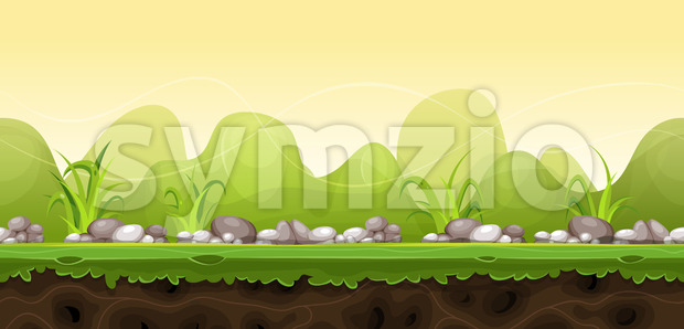 Seamless Green Landscape For Game Ui Stock Vector
