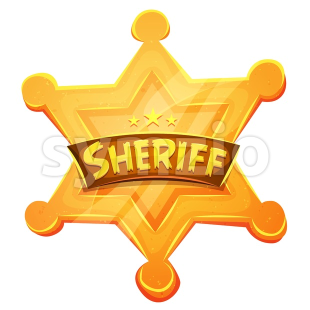 Sheriff Marshal Star Gold Medal Icon Stock Vector