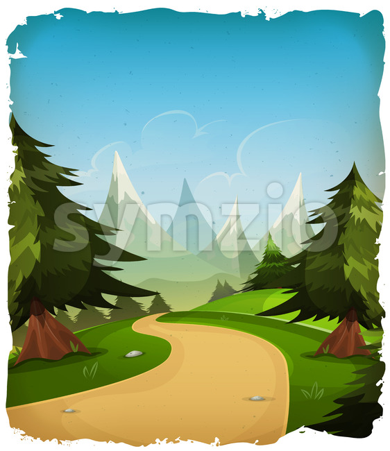 Cartoon Mountains Landscape Background Stock Vector