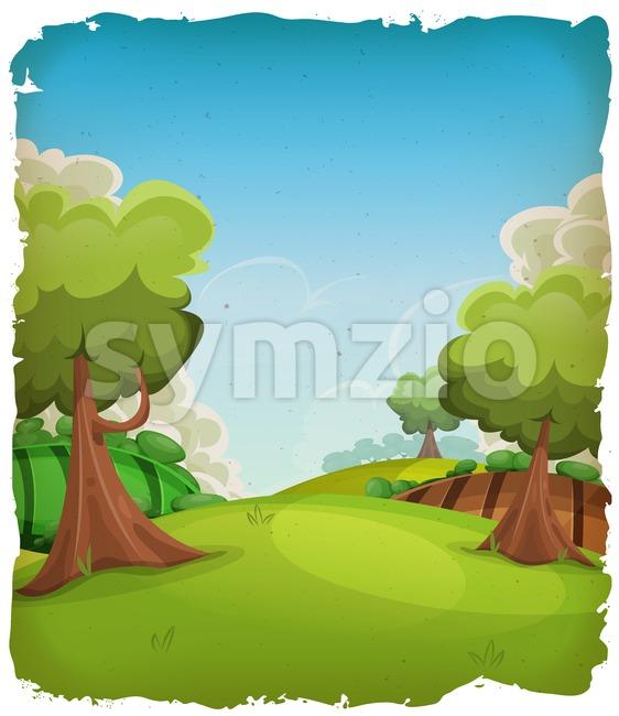 Cartoon Rural Landscape Background Stock Vector