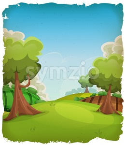 Cartoon Rural Landscape Background Stock Vector