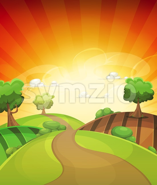 Cartoon Country Background In Spring Or Summer Sunset Stock Vector