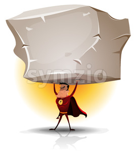 Superhero Holding Heavy Big Boulder Stock Vector