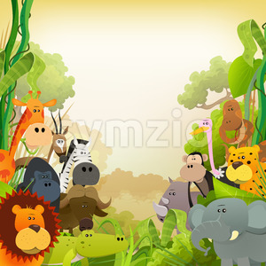 Wildlife African Animals Background Stock Vector