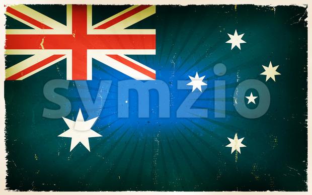 Vintage Australia Flag Poster Background Stock Vector
