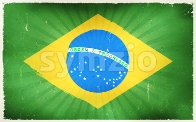 Vintage Brazil Flag Poster Background Stock Vector