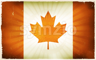 Vintage Canada Flag Poster Background Stock Vector