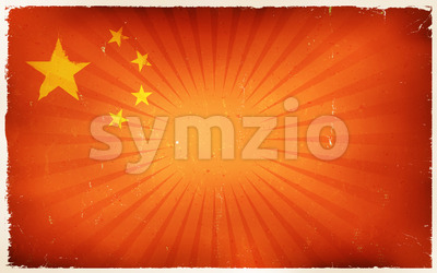 Vintage China Flag Poster Background Stock Vector