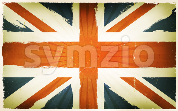 Vintage English Flag Poster Background Stock Vector