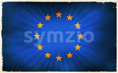 Vintage European Union Flag Poster Background Stock Vector