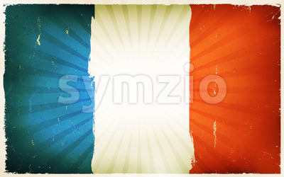 Vintage French Flag Poster Background Stock Vector