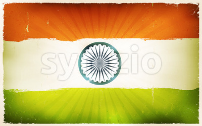 Vintage India Flag Poster Background Stock Vector
