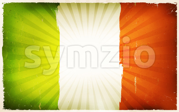 Vintage Irish Flag Poster Background Stock Vector