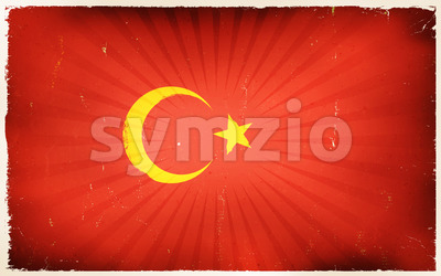Vintage turkey Flag Poster Background Stock Vector