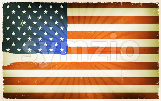 Vintage American Flag Poster Background Stock Vector
