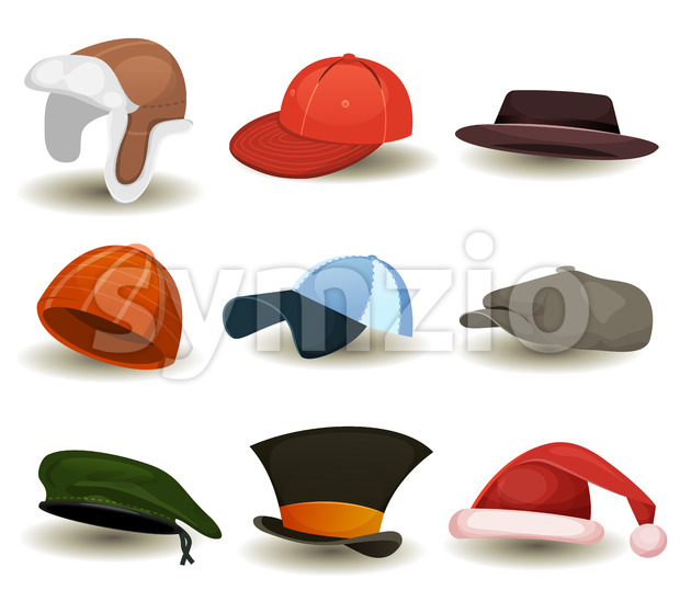 Caps, Top Hats And Other Headwear Set Stock Vector