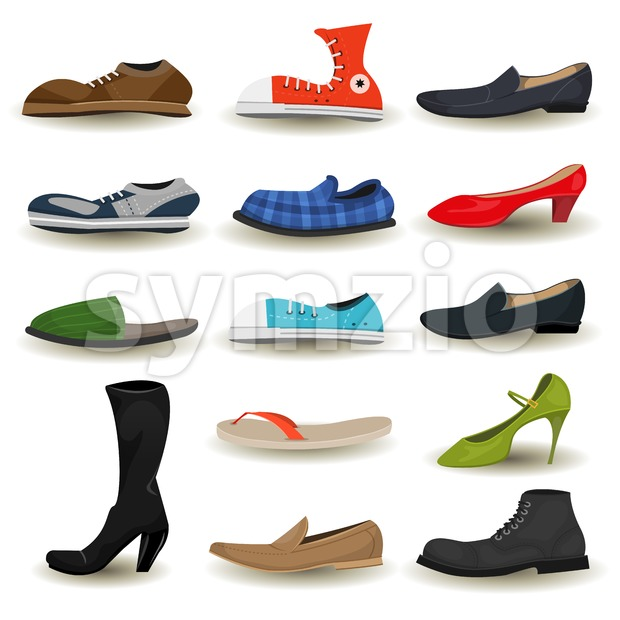 Illustration of a set of cartoon men and women shoes, boots, sandals, moccasin, sports sneakers and other footwear