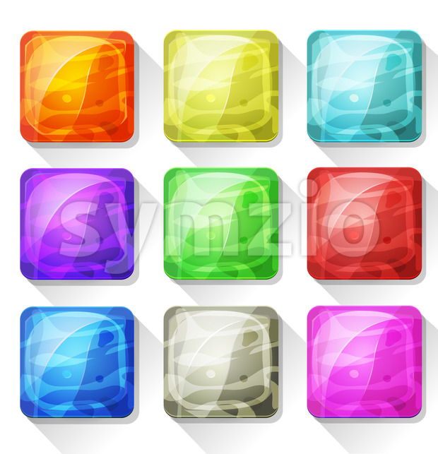Fancy Icons And Buttons For Mobile App And Game Ui Stock Vector