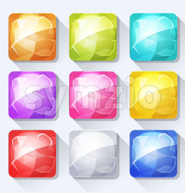 Gems And Jewel Icons And Buttons Set For Mobile App And Game Ui Stock Vector