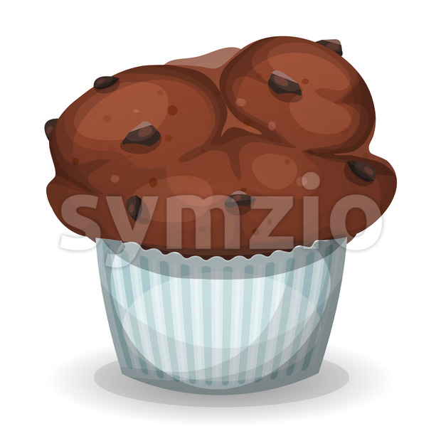 Classic American Muffin With Chocolate Chips Stock Vector
