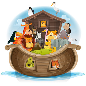 Noah's Ark With Cute Animals Stock Vector