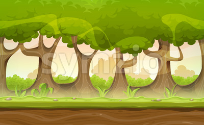 Seamless Forest Trees And Hedges Landscape For Game Ui Stock Vector
