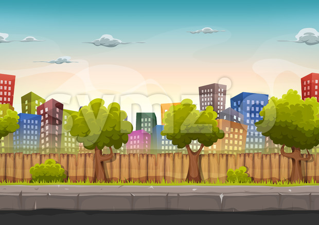 Seamless Street City Landscape For Game Ui Stock Vector