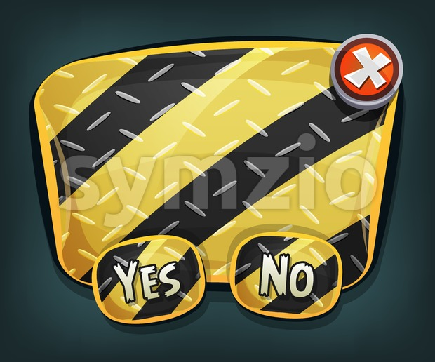 Illustration of a cartoon emergency and warning security metal sign with buttons, for ui software or commercial acceptance and agreement ...