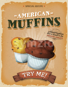 Grunge And Vintage American Muffins Poster Stock Vector