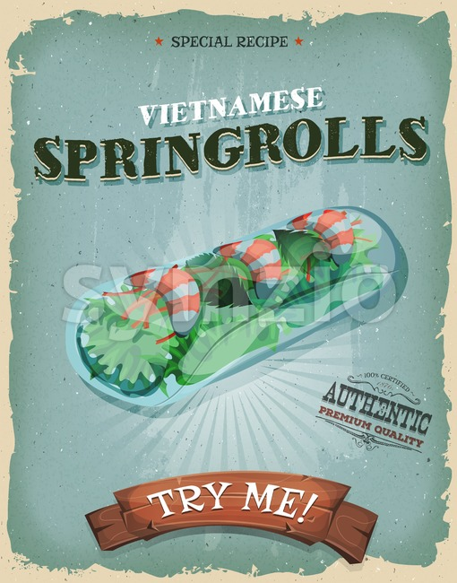 Grunge And Vintage Vietnamese Spring rolls Poster Stock Vector