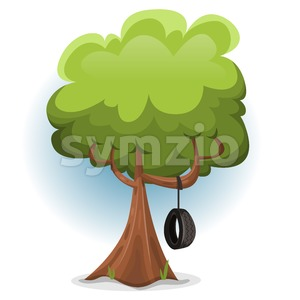 Funny Spring Tree With Swing Tire Stock Vector