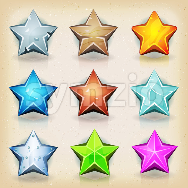 Funny Stars Icons For Game Ui Stock Vector