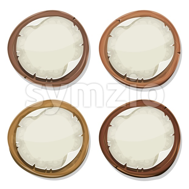 Torn Paper Signs On Wood Circles Stock Vector