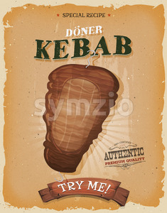 Grunge And Vintage Kebab Sandwich Poster Stock Vector